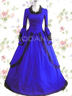 A-ligne robe lolita satin dentelle manches longues col rond