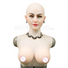 Masque silicone transgenre avec buste faux sein Crossdresser mask with breast