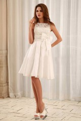 Robe mariage civil pas cher col rond empire satin noeud